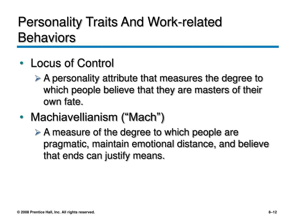 Personality Traits And Work-related Behaviors