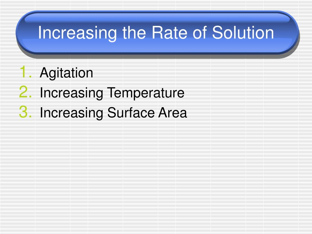 Increasing the Rate of Solution