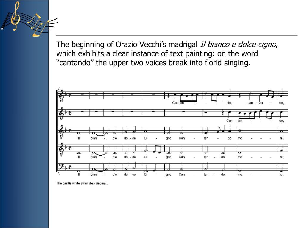 The beginning of Orazio Vecchi's madrigal