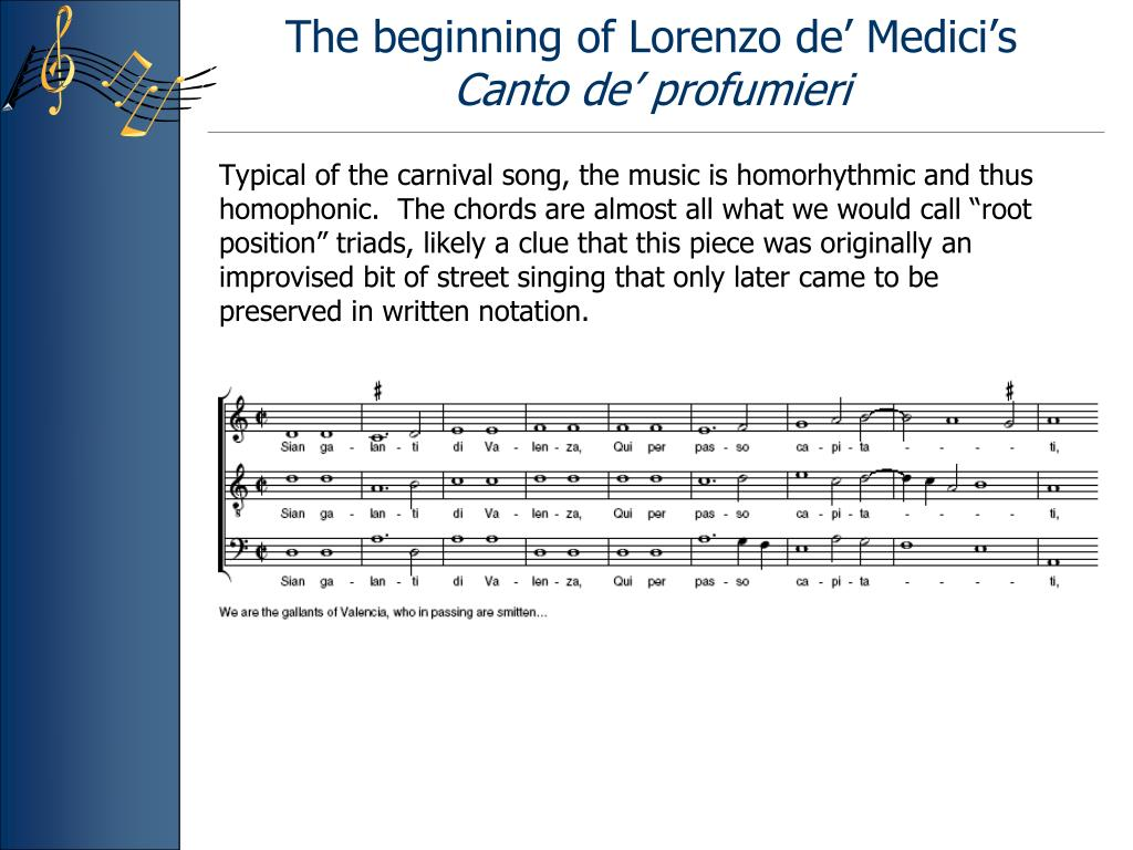 The beginning of Lorenzo de' Medici's