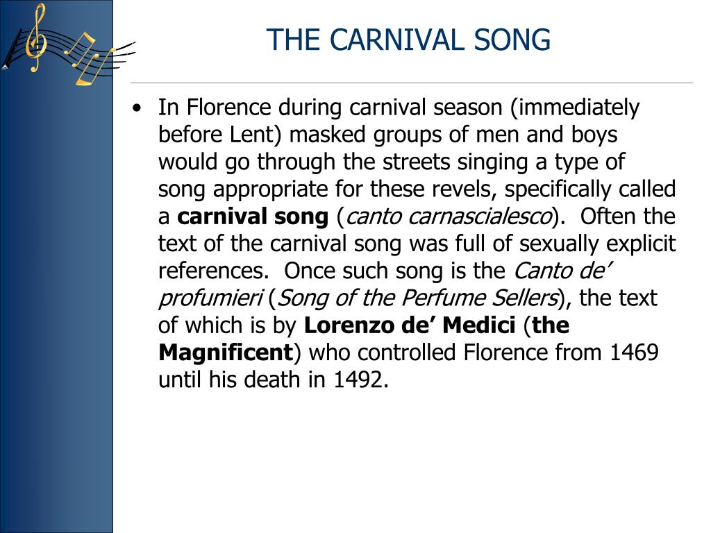 THE CARNIVAL SONG