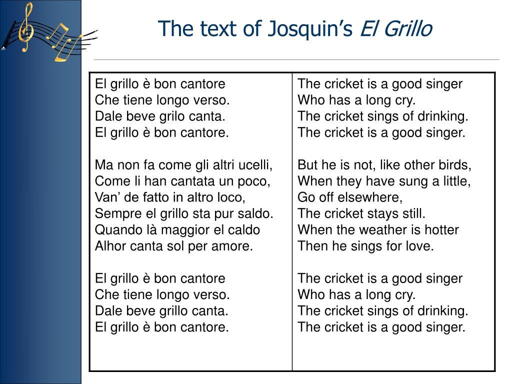 The text of Josquin's