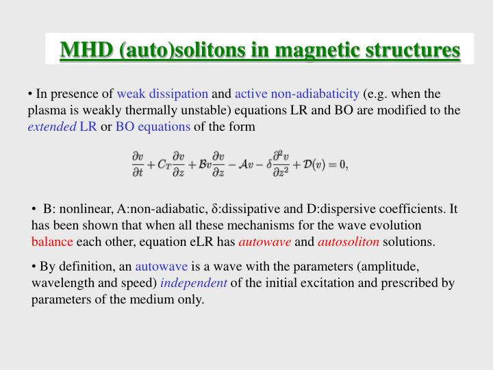 MHD (auto)solitons in magnetic structures