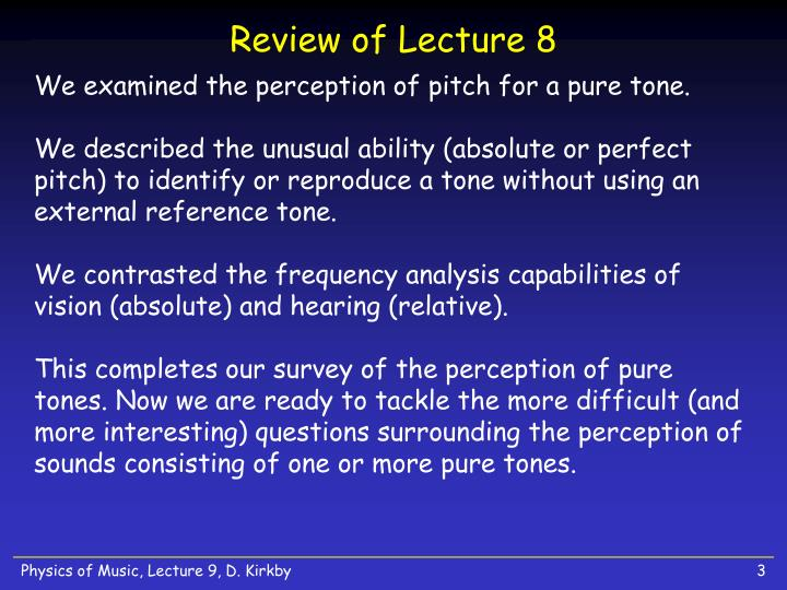 Review of lecture 8