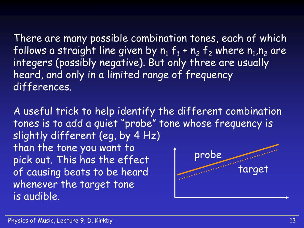There are many possible combination tones, each of which follows a straight line given by n