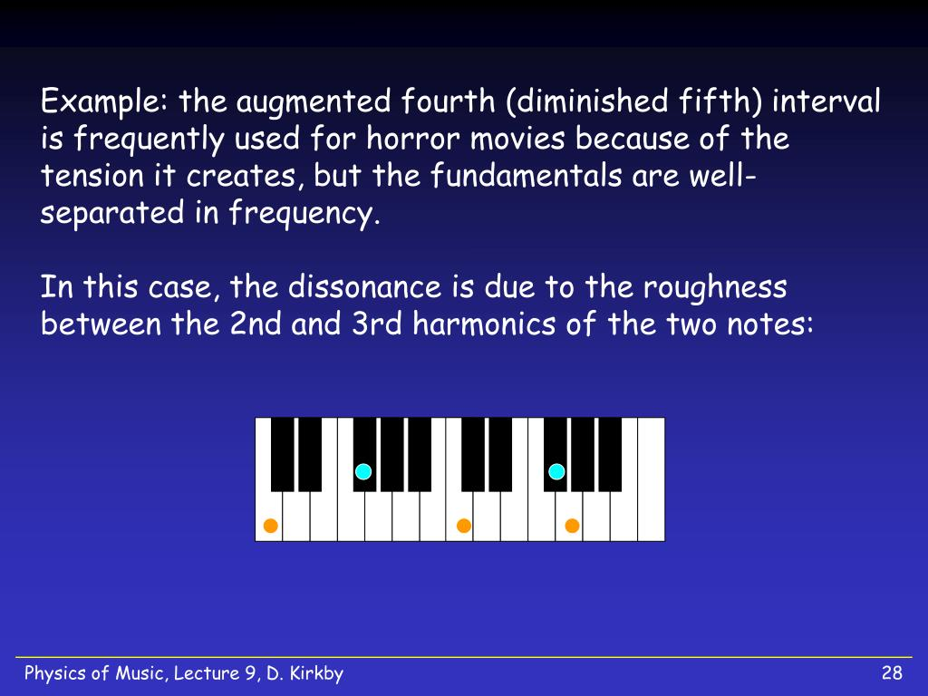 Example: the augmented fourth (diminished fifth) interval is frequently used for horror movies because of the tension it creates, but the fundamentals are well-separated in frequency.