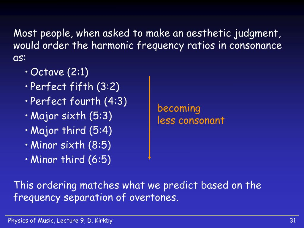 Most people, when asked to make an aesthetic judgment, would order the harmonic frequency ratios in consonance as: