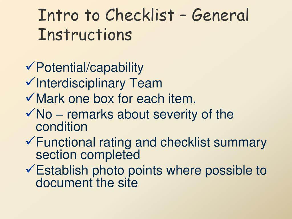 Intro to Checklist – General Instructions