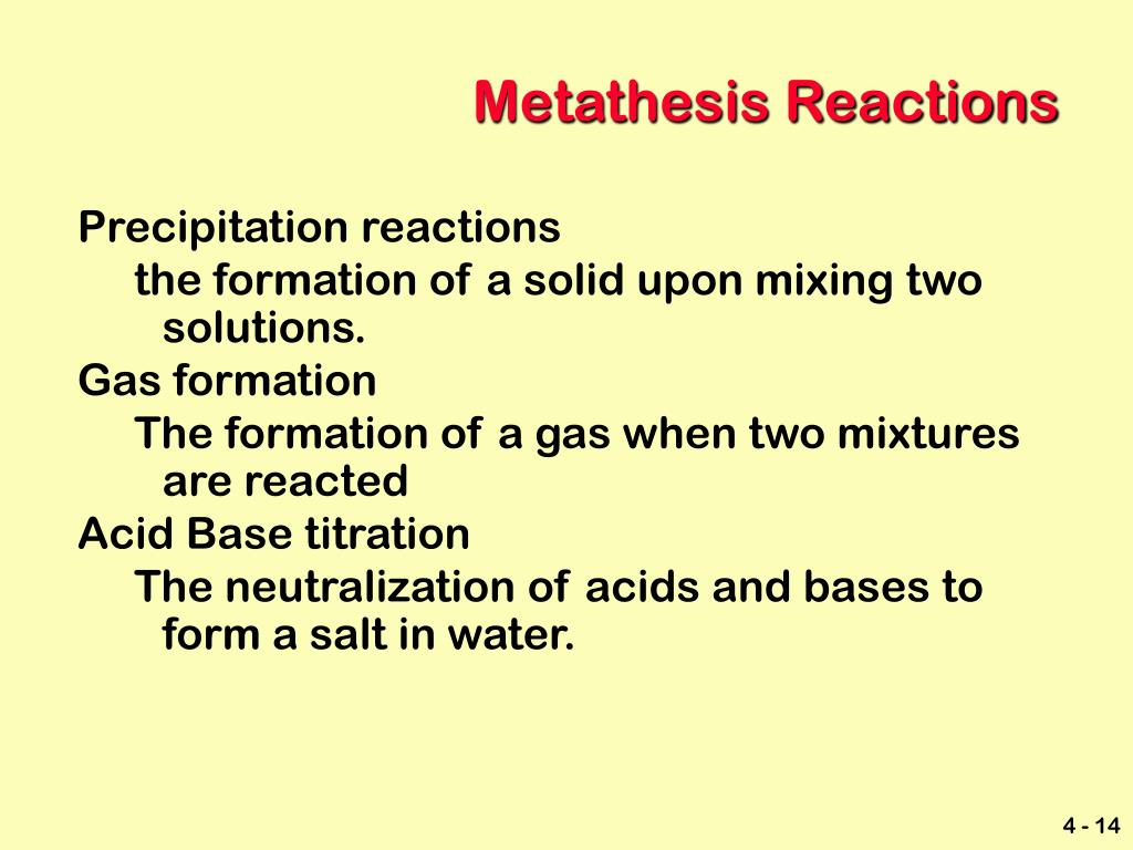 Metathesis Reactions