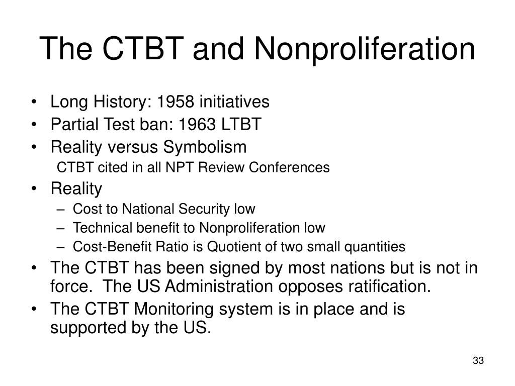 The CTBT and Nonproliferation