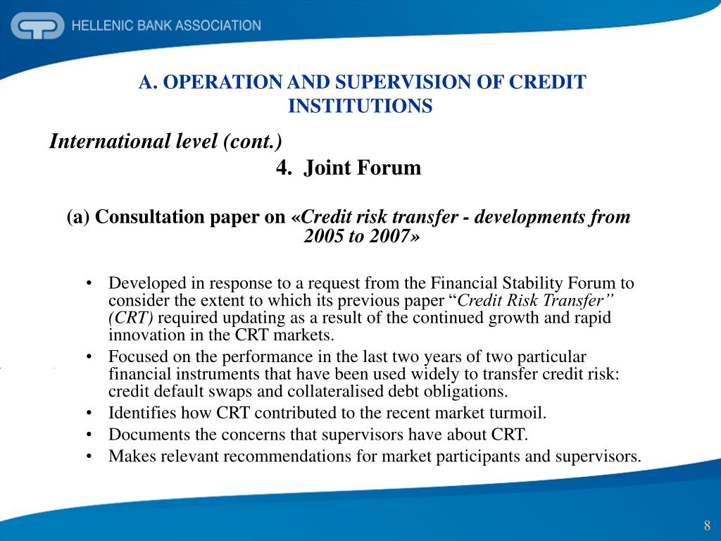A. OPERATION AND SUPERVISION OF CREDIT INSTITUTIONS