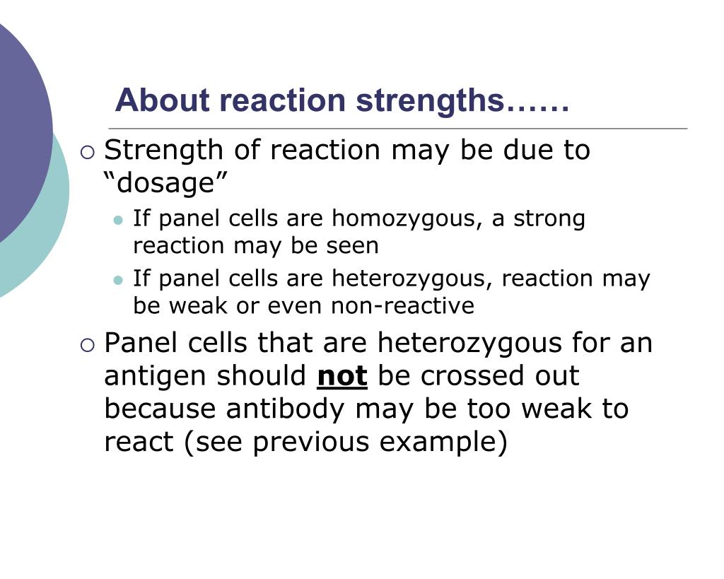 About reaction strengths……