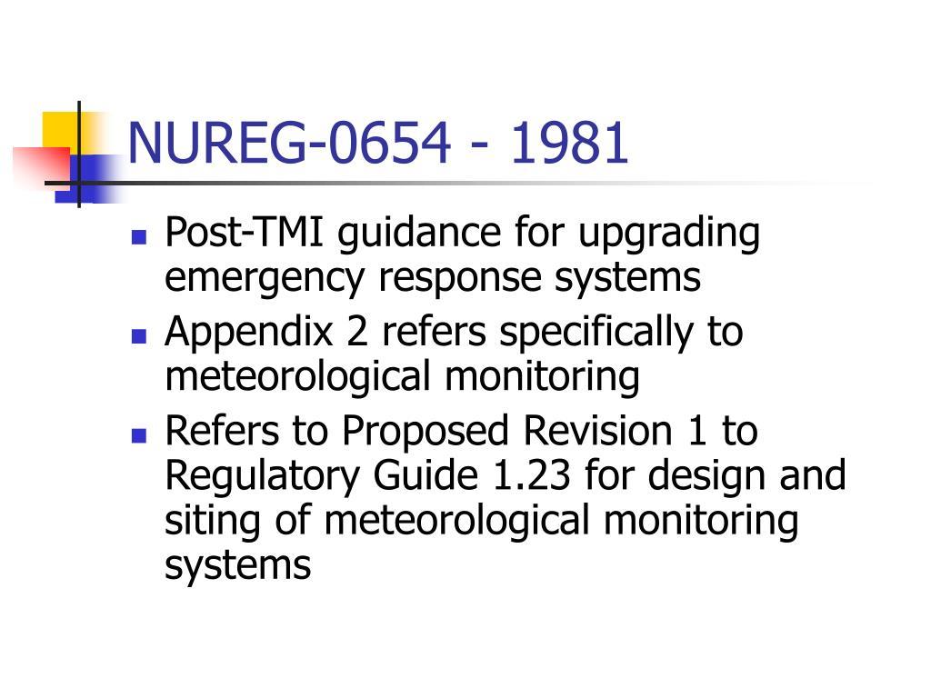 NUREG-0654 - 1981