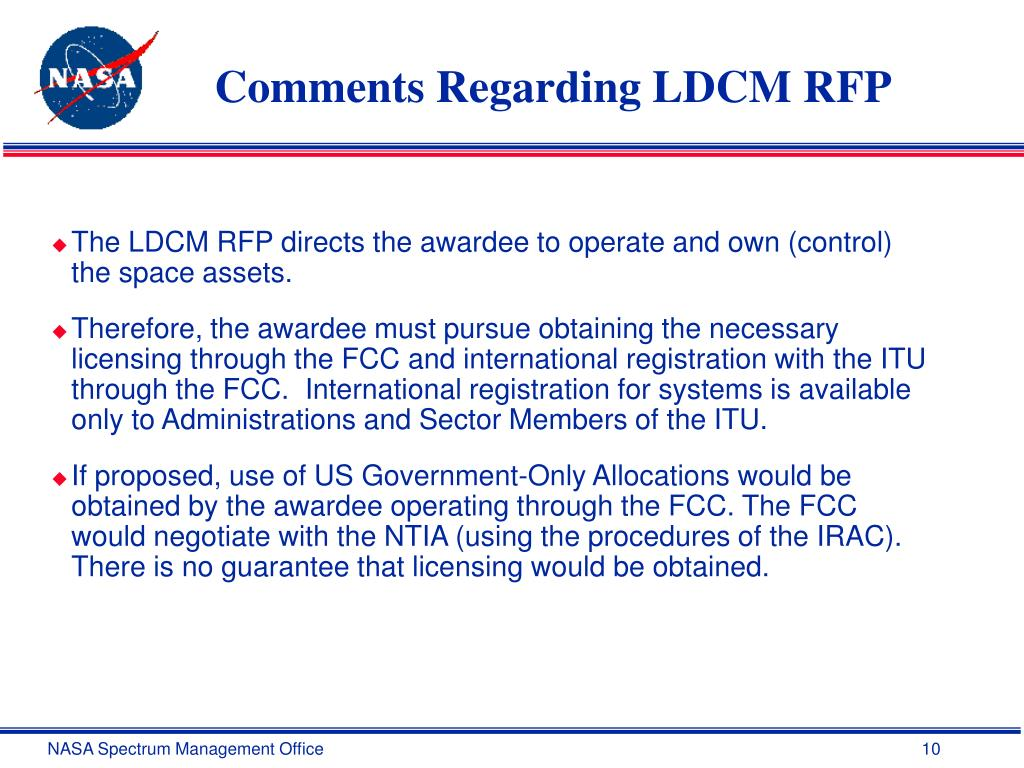 Comments Regarding LDCM RFP