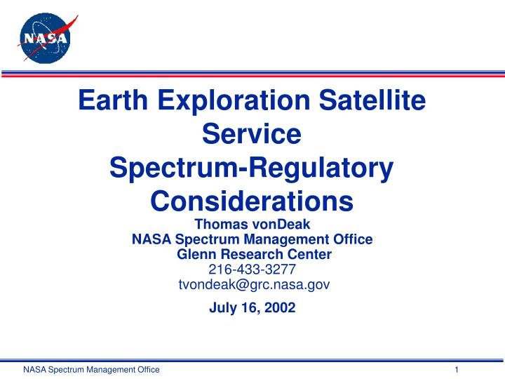 Earth exploration satellite service spectrum regulatory considerations