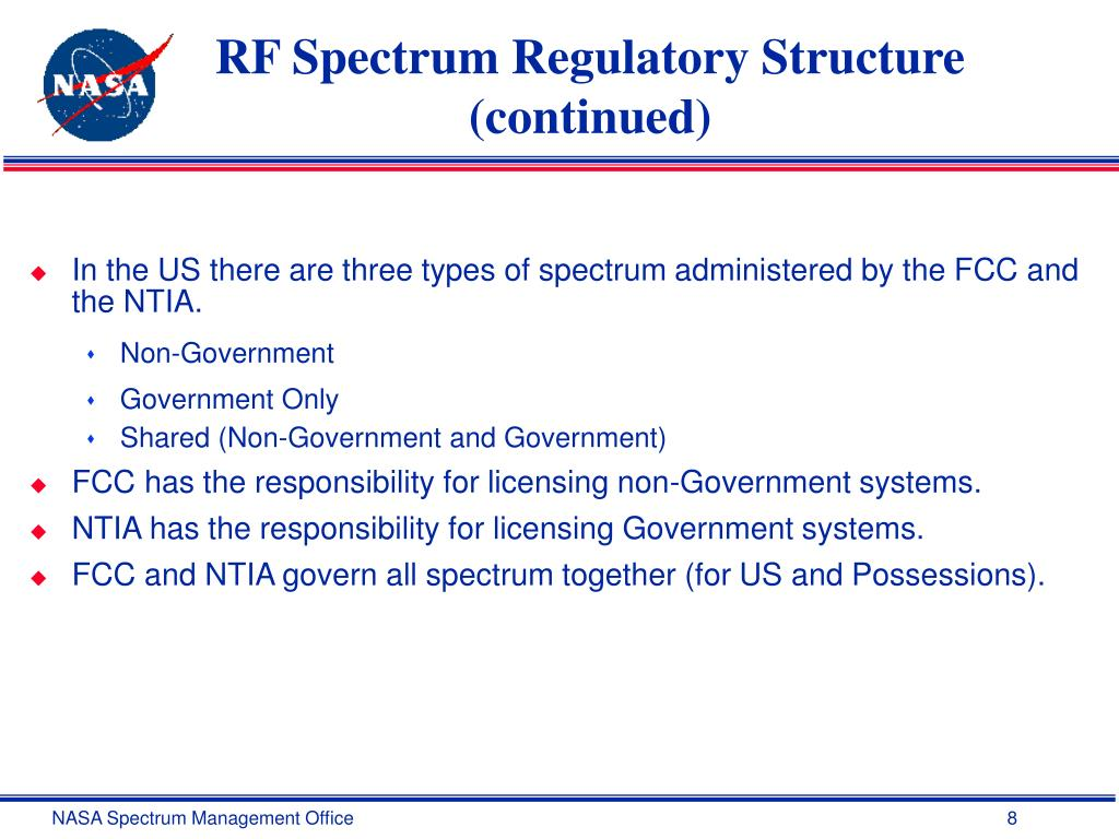 RF Spectrum Regulatory Structure