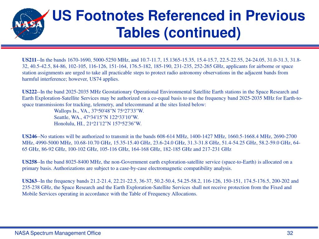 US Footnotes Referenced in Previous Tables (continued)