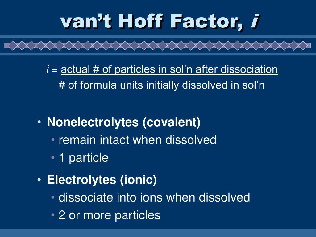 van't Hoff Factor,