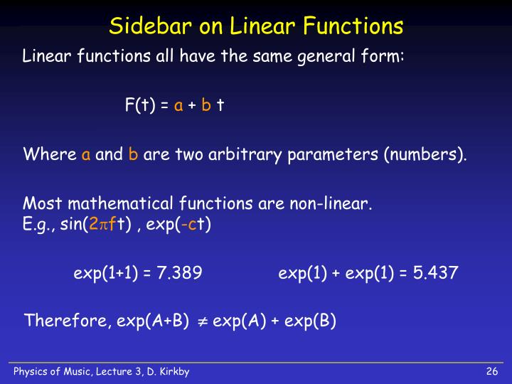 Sidebar on Linear Functions
