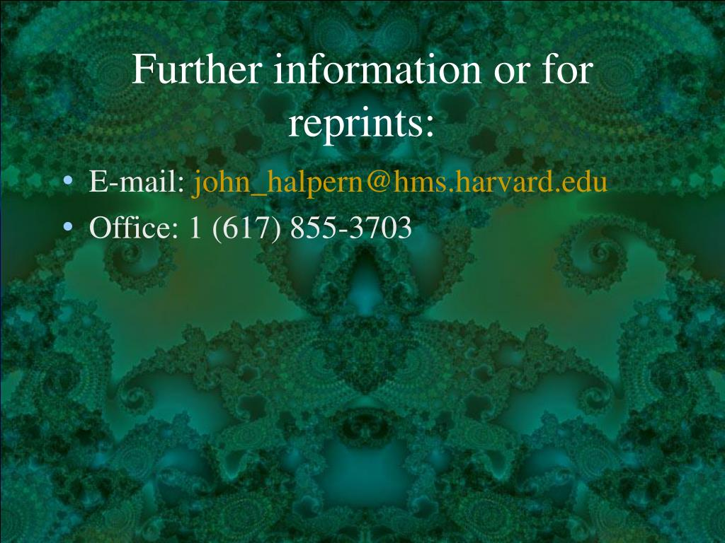 Further information or for reprints: