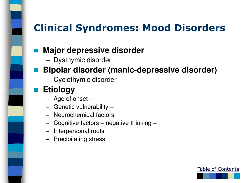 Clinical Syndromes: Mood Disorders