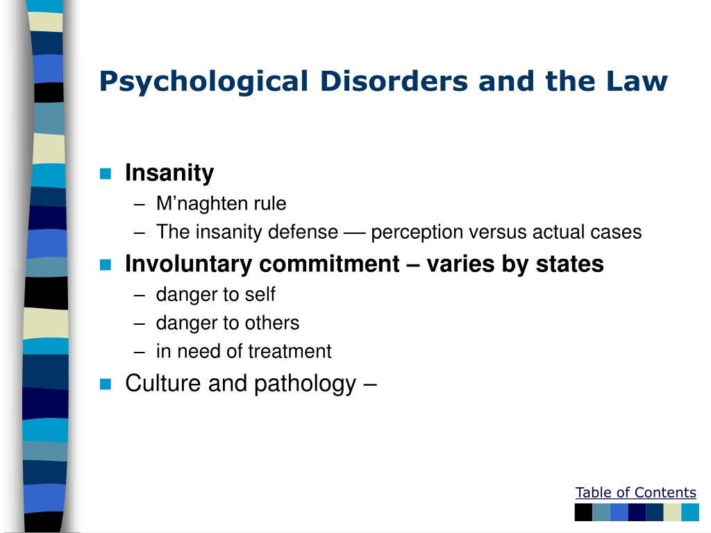 Psychological Disorders and the Law