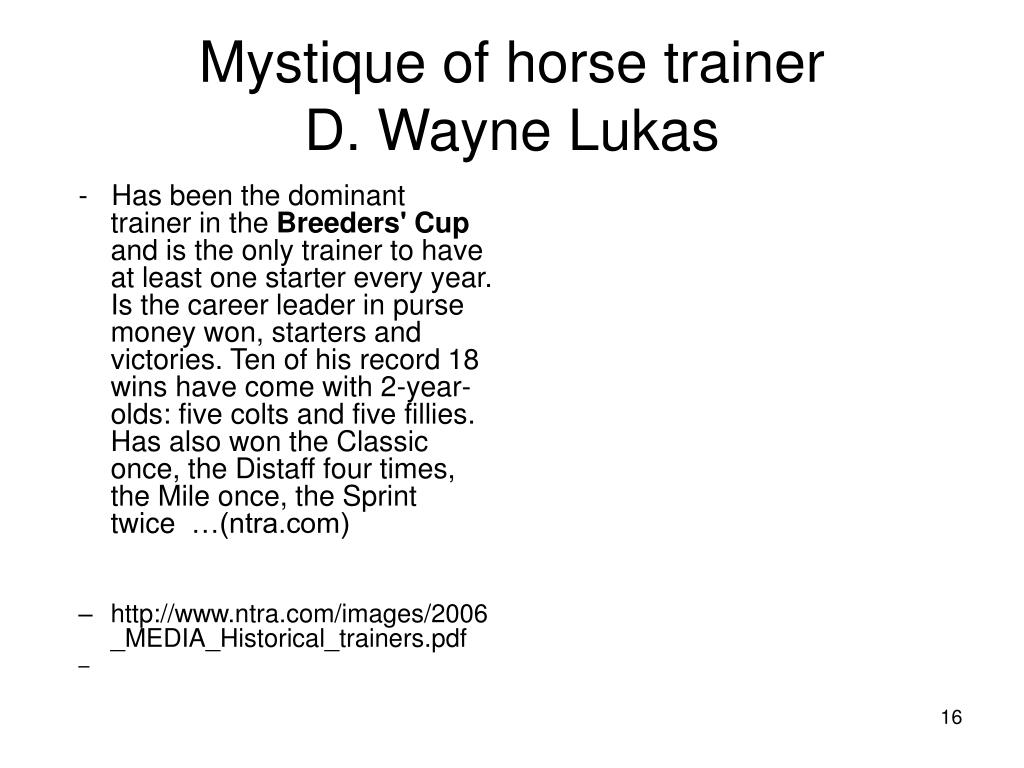 Mystique of horse trainer