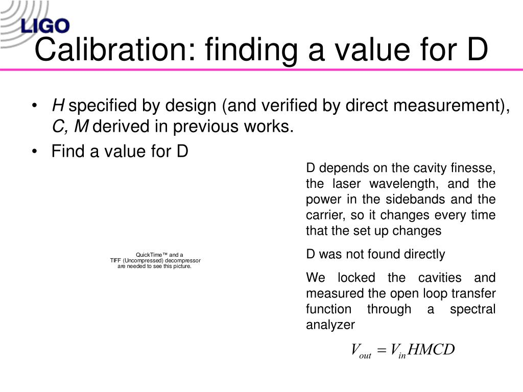 Calibration: finding a value for D