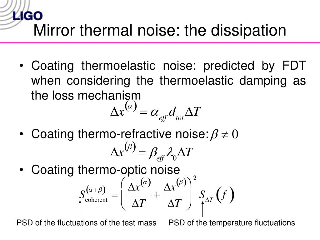 Mirror thermal noise: the dissipation