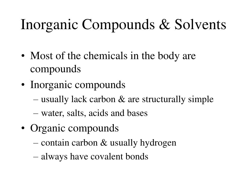 Inorganic Compounds & Solvents