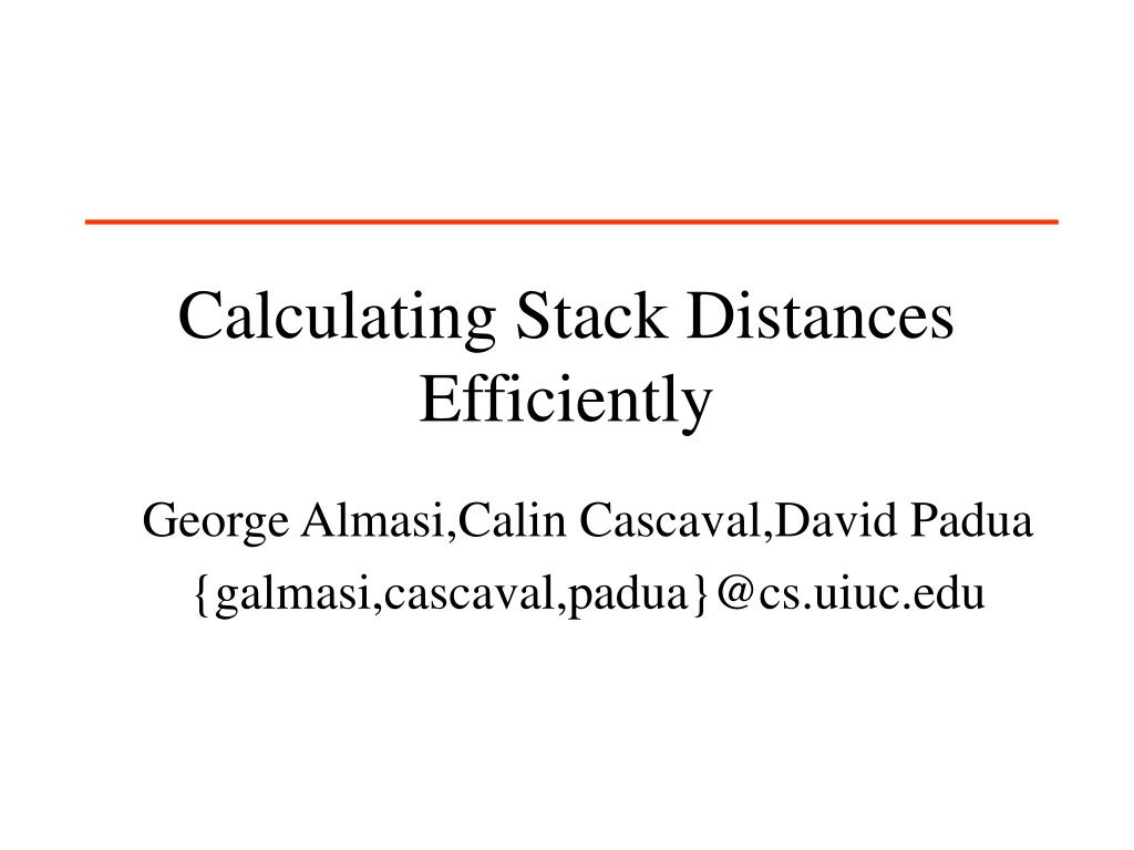 Calculating Stack Distances Efficiently