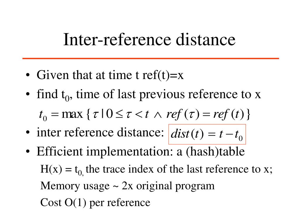 Inter-reference distance
