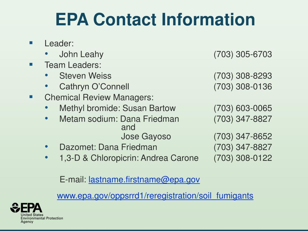 EPA Contact Information