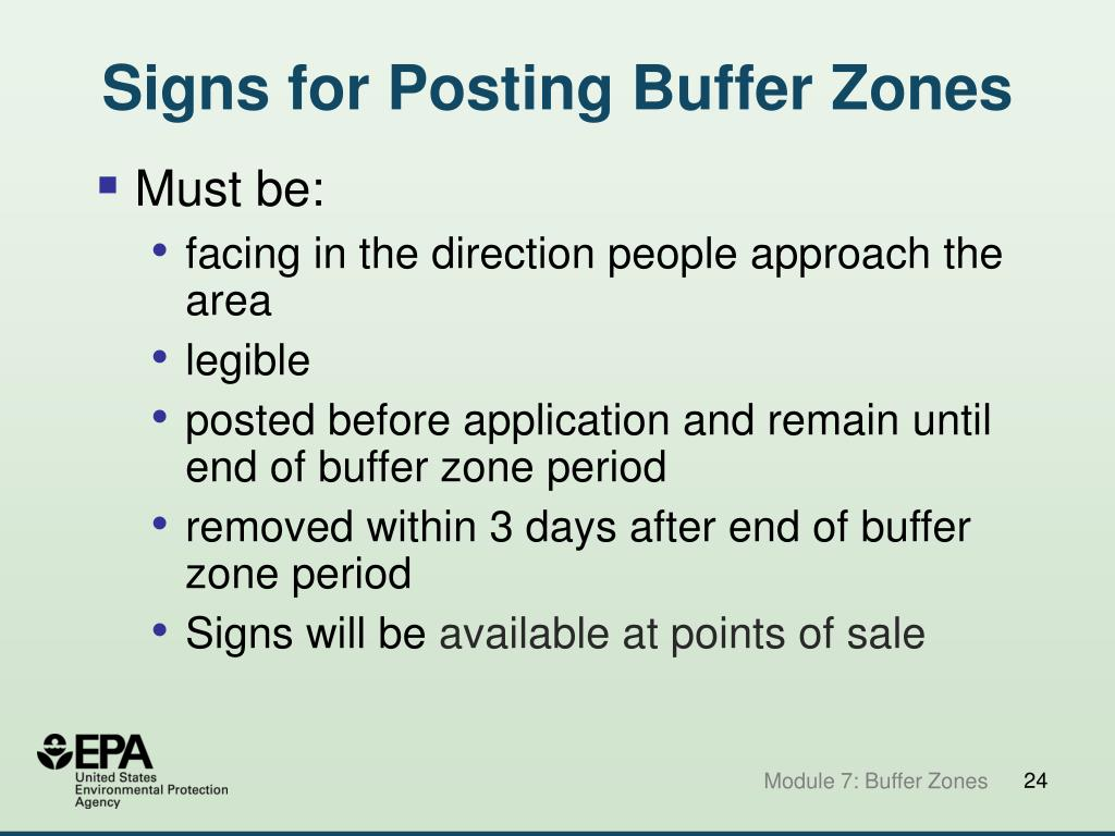 Signs for Posting Buffer Zones