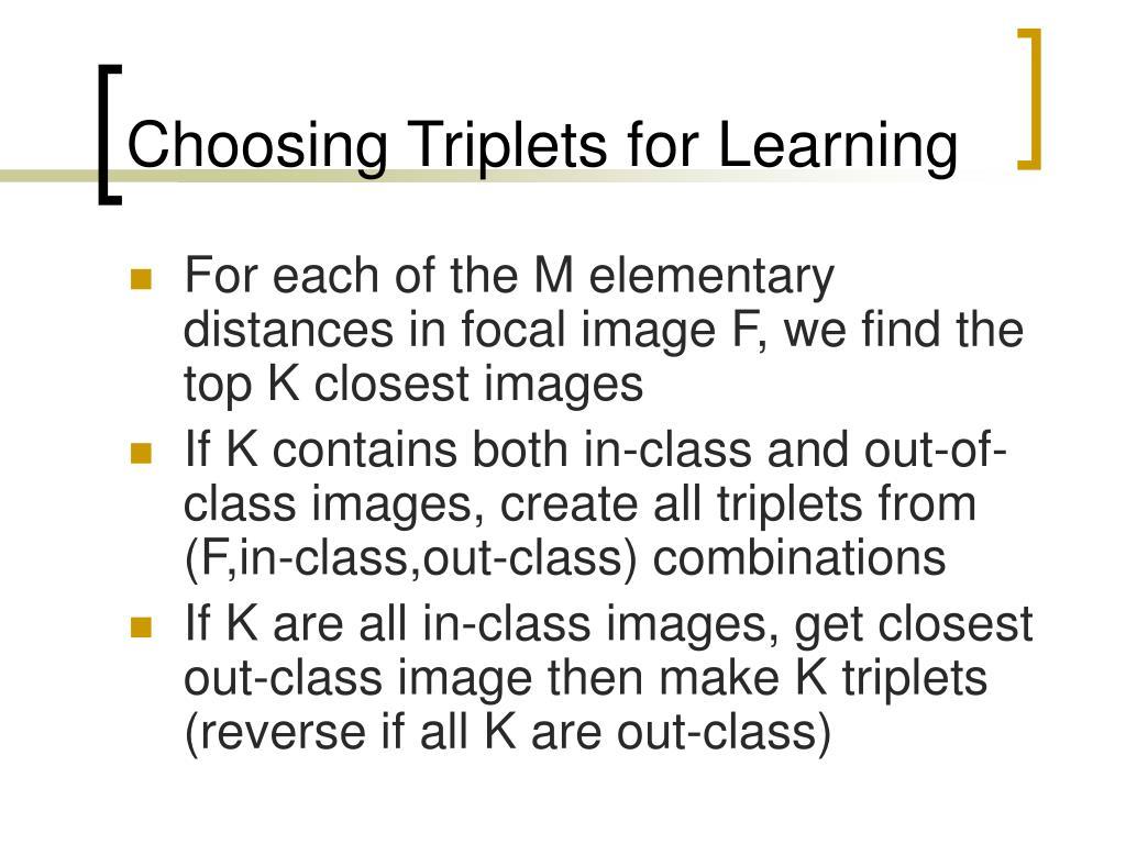 Choosing Triplets for Learning