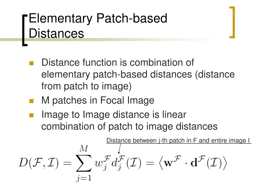 Elementary Patch-based Distances