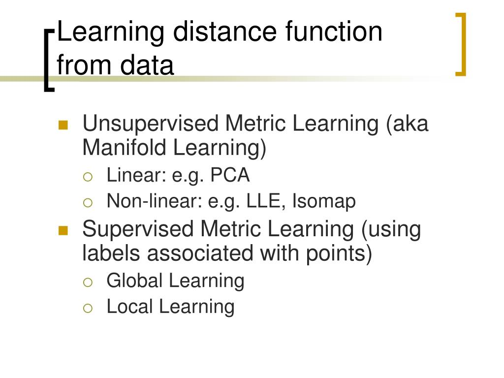 Learning distance function from data