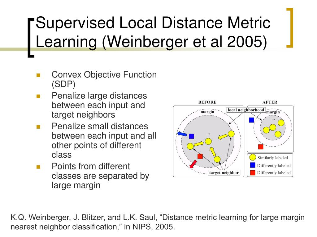 Supervised Local Distance Metric Learning (Weinberger et al 2005)