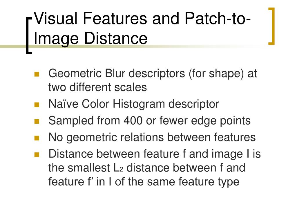 Visual Features and Patch-to-Image Distance
