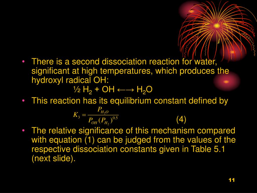 There is a second dissociation reaction for water, significant at high temperatures, which produces the hydroxyl radical OH: