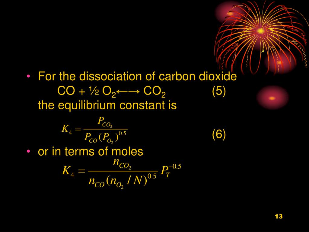 For the dissociation of carbon dioxide