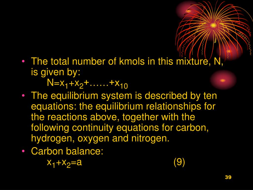 The total number of kmols in this mixture, N, is given by: