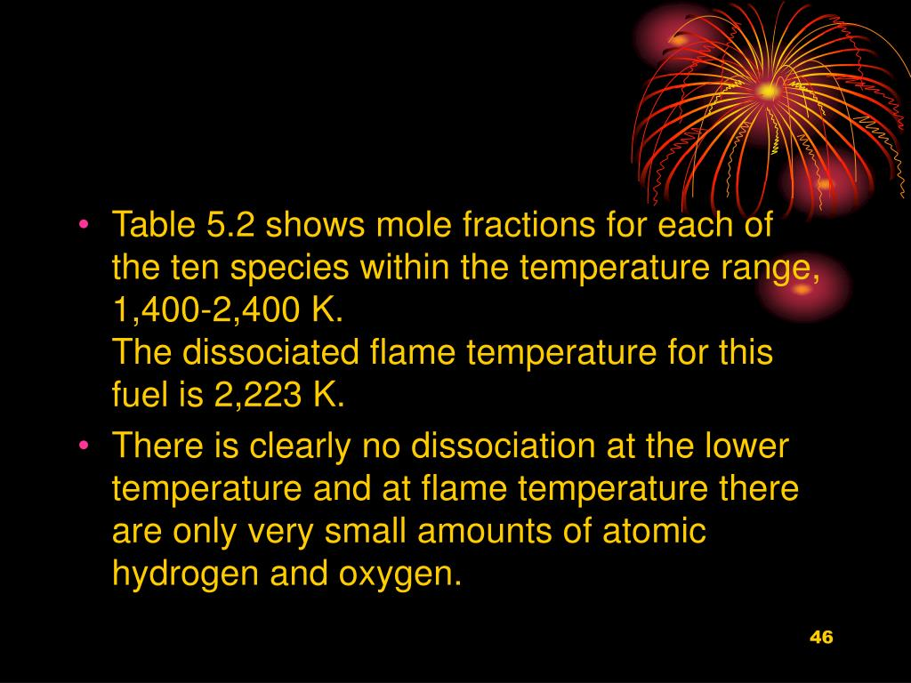 Table 5.2 shows mole fractions for each of the ten species within the temperature range, 1,400-2,400 K.