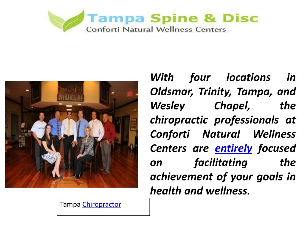With four locations in Oldsmar, Trinity, Tampa, and Wesley Chapel, the chiropractic professionals at