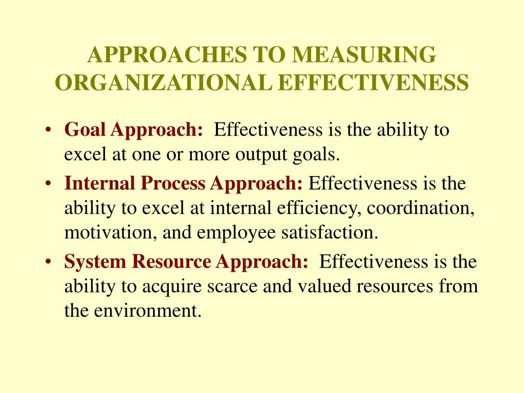 APPROACHES TO MEASURING ORGANIZATIONAL EFFECTIVENESS