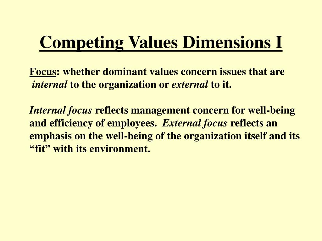 Competing Values Dimensions I