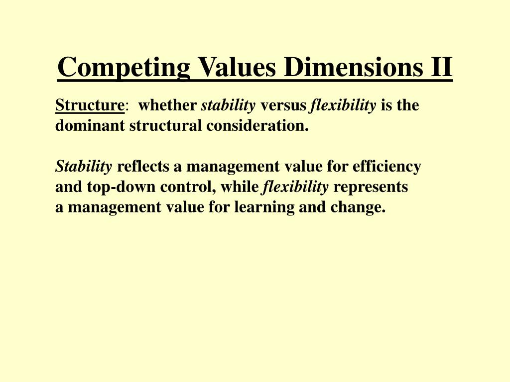 Competing Values Dimensions II