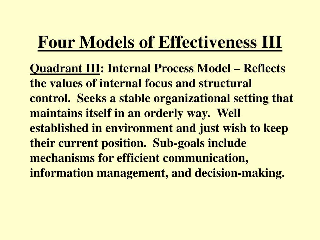 Four Models of Effectiveness III