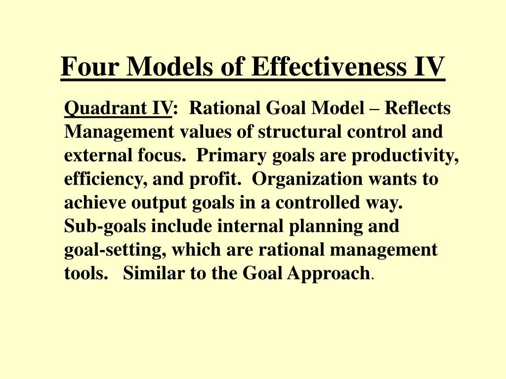 Four Models of Effectiveness IV