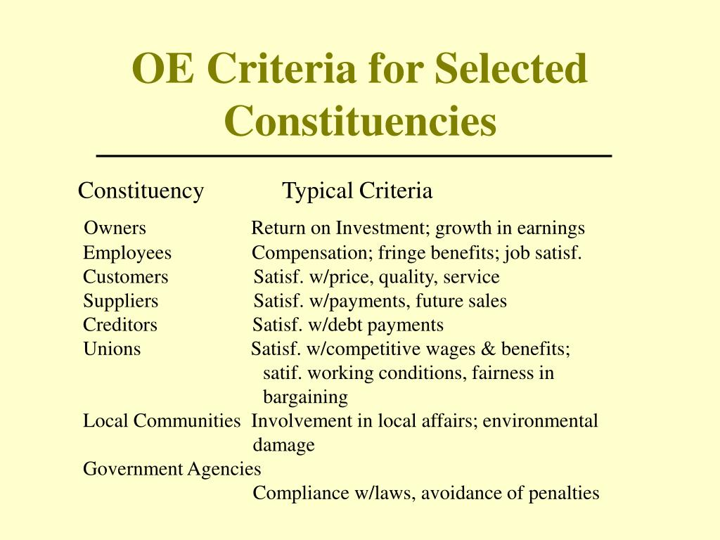 OE Criteria for Selected Constituencies